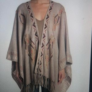 Johnny Was Sophie Cashmere Embroidered Cape